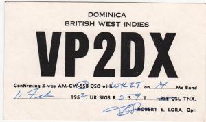 QSL, VP2DX, Dominica, British West Indies, 1962