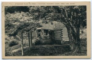 Packard Camps Log Cabin Sebec Lake Maine 1940 postcard
