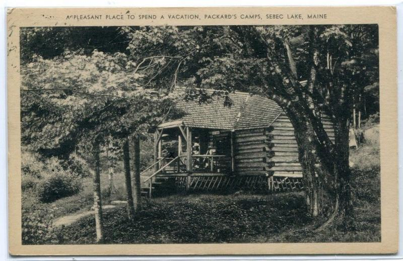 Packard Camps Log Cabin Sebec Lake Maine 1940 postcard
