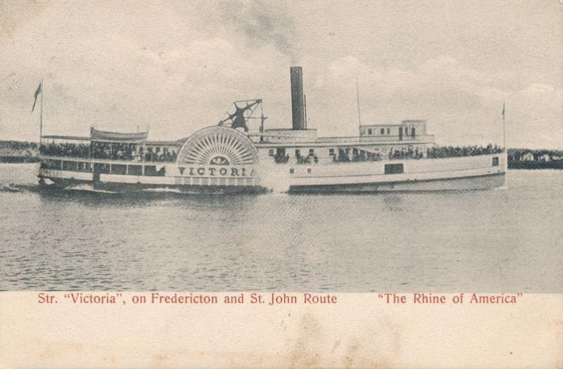 Steamer Victoria on Fredericton to St John Route New Brunswick Canada - pm 1907