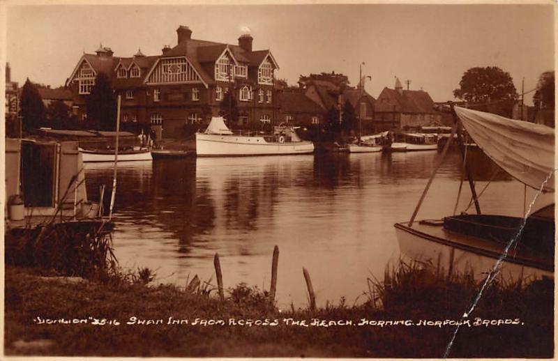 Swan Inn from Across the Beach, Horning Norfolk Broads Boats