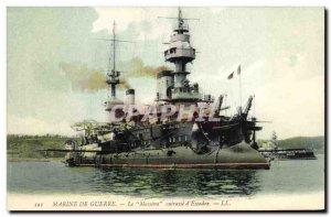 Old Postcard Boat Le Massena Breastplate d & # 39escadre