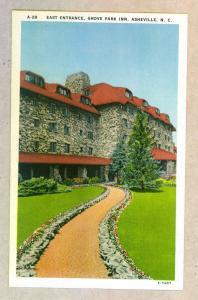 East Entrance, Grove Park Inn, Asheville, North Carolina unused linen Postcard