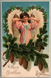 CHRISTMAS Postcard Pretty Angel Girl in Odd Pose / Pine Bough Heart 1907 Cancel