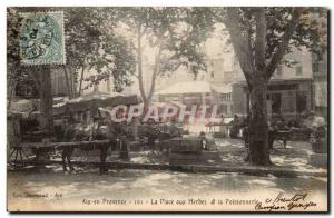 Old Postcard Aix en Provence Place herbs and fish