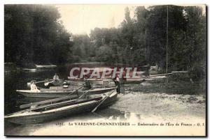 Varenne Chennevieres Old Postcard Embarcadere of & # 39Ecu of France
