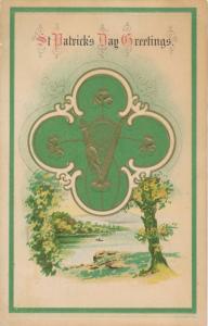 St Patricks Day Greetings - Harp - Shamrock - Rural scene - pm 1917 - DB