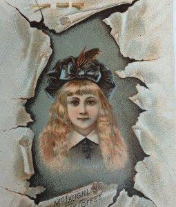 Victorian Trade Card McLaughlin's Coffee Pretty Girl in Hat