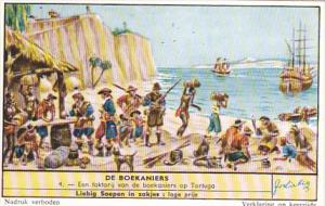Liebig Trade Card s1684 Buccaneers No 4 Een faktorij van de boekaniers op Tor...