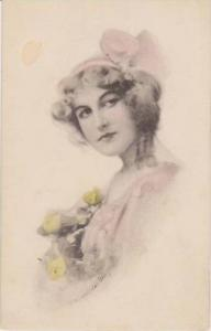 Schlesinger Bros.: Blond Beauty in Pink Dress Holding Yellow Roses 1900-10s