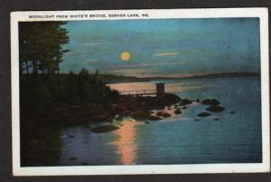 ME Moonlight view from White's Bridge SEBAGO LAKE MAINE Postcard Carte Postale