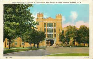 mRoswell N~Battlement~Sallyport Quadrangle~Military Institute~1949 Postcard