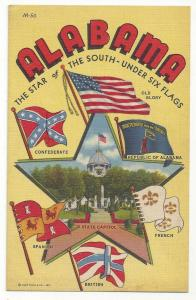 Large Letter Alabama Star and Six Flags Vtg 1942 Postcard