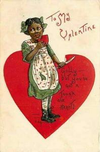 Black Americana, Valentine Greeting, Black Girl in Heart, Embossed, L. & E.