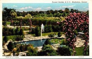 Kansas Manhattan Formal Garden Kansas State College 1947 Curteich