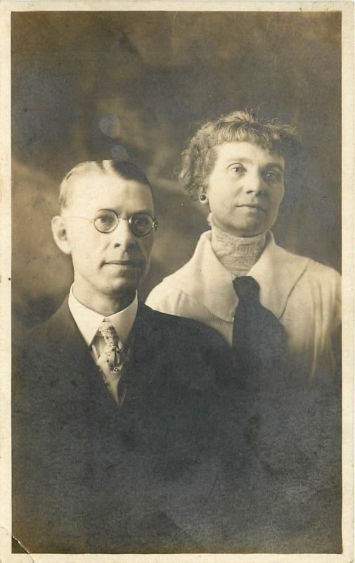 Man and Woman Husband and Wife Portrait Black and White Photo RPPC Postcard