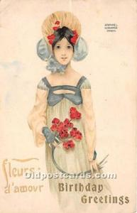 "Artist Raphael Kirchner Old Vintage Postcard Birthday Greetings Fleurs d""..."