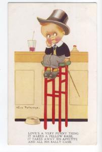 ch0073 - Boy sits on a high stool - artist Vera Peterson - postcard