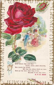 Red Rose, Couple courting, Poem by G. P. R. James, gold detail, PU-1910