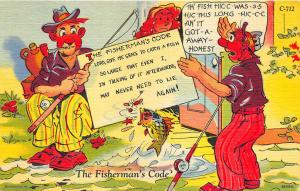 6B-H842 Ray Walters Comic Postcards Fishing Curt Teich Postcard
