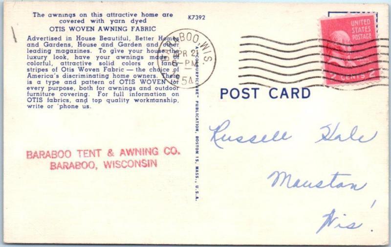 BARABOO TENT u0026 AWNING WI Otis Woven Awning Fabric Advertising 1954 Postcard  sc 1 st  HipPostcard & BARABOO TENT u0026 AWNING WI Otis Woven Awning Fabric Advertising 1954 ...