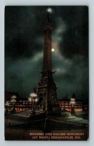 Indianapolis IN-Indiana, Soldiers Sailors Monument By Night, Vintage Postcard