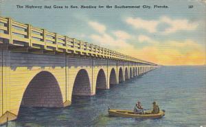 Seven Mile Bridge Heading Towards Key West Florida 1948
