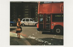 Threadneedle Street London Lady On Mobile Award Postcard
