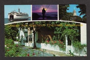 MA Greetings MARTHA'S VINEYARD CAPE COD MASS Postcard Massachusetts