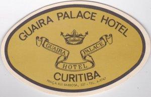 Brasil Curitiba Guaria Palace Hotel Vintage Luggage Label sk1348