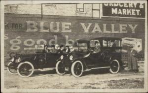 Old Cars Blue Valley Butter Sign on Bricks c1915 Real Photo Postcard