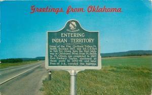 Indian Territory Oklahoma~Entering Territory Roadside Highway Sign~1963