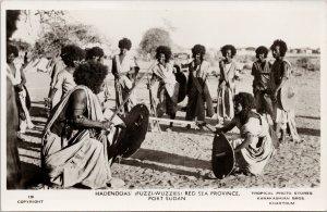 Port Sudan Hadendoa Red Sea Province Nomadic Beja People RPPC Postcard G89