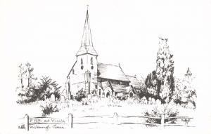Postcard Art Sketch WISBOROUGH GREEN St. Peter Ad Vincula Church, Sussex #W