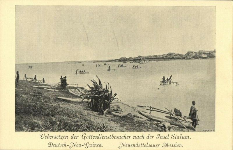 german new guinea, Transport of Believers to Island of Sialum (1910s) Mission
