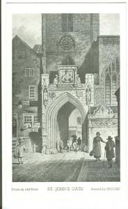 UK, St. John's Gate, From an old Print, old unused Postcard