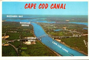 Massachusetts Cape Cod Aerial View West End With Buzzards Bay and Bourne Bridge