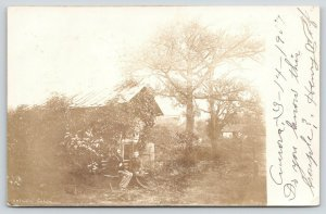Oelwein Iowa~Orville Christophel Park~Old Couple at Cabin~Pump~Aurora~1907 RPPC