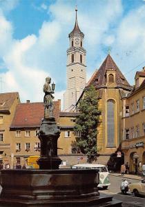 Augsburg St Anna mit Goldschmiedbrunnen Fountain Statue Auto Volkswagen Cars