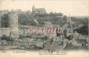 Old Postcard Fougeres Brittany tour m?lusine Saint Sulpice Church and Saint L...