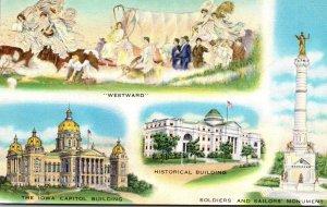Iowa Des Moines Capitol Building Historical Building & Soldiers and Sailors M...