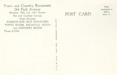 Country Room, Town and Country Restaurant 284 Park Avenue...