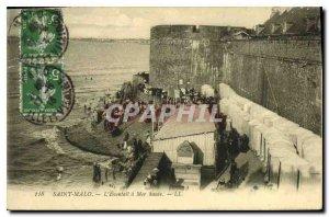 Old Postcard Saint Malo has a Fan High Sea