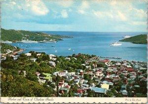 postcard Virgin Islands - Harbor and Town of Charlotte Amalie
