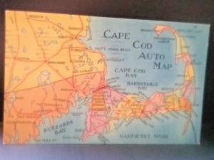 Postcard Cape Cod Auto Map Linen