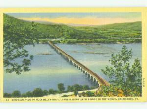 Unused Linen BRIDGE SCENE Harrisburg Pennsylvania PA HQ9862@