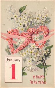 New Year~Pink Flower Hearts Linked With Ribbon~White Blossoms~Emboss~BW 332