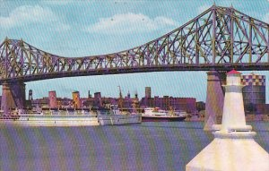 Canada Jacques Cartier Bridge With Canadian Pacific Empress Of Scotland Montreal