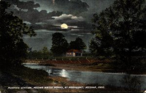 Ohio Medina Water Works Pumping Station By Moonlight