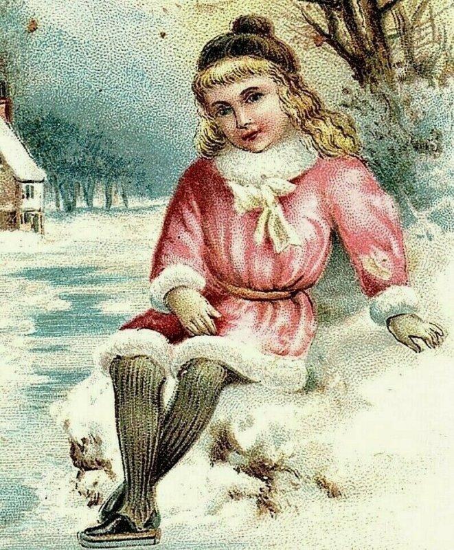 1880's-90's Victorian Religious Card Bible Quote Winter Scene Cute Girl P158